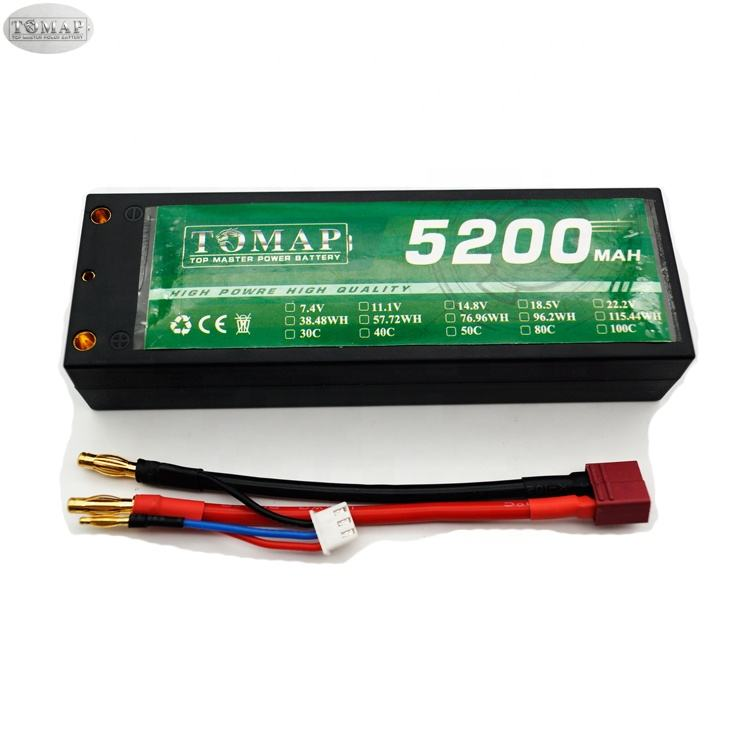 TOMAP oem lipo rc batteries hard case 3s 2s 4s lipo 5200mah 30c 7.4v rechargeable battery for rc car