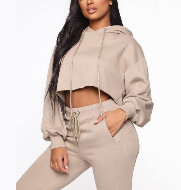 High Quality 2Pcs Custom Women French Terry Cropped Hoodies + Sweatpants Jogging Outfit Plain Tracksuit Set