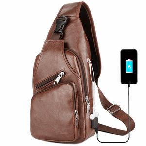 Ready to Ship 2020 New Arrival Sling bag Crossbody bag Men Genuine Cow Leather Street Fashion Casual Chest bag