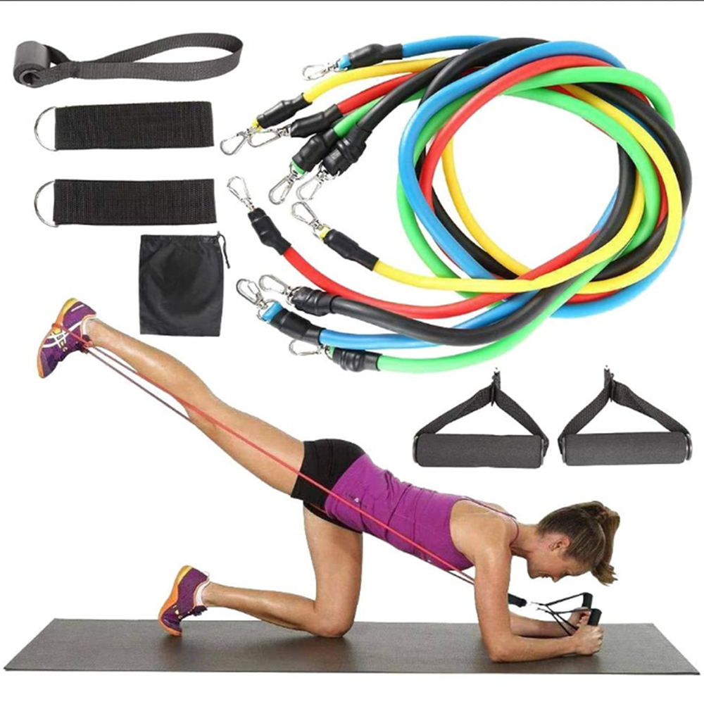 Workout Training Tubes Exercise 11 Pcs Resistance Bands, Body Building Accessories Heavy Duty Resistance Band Set)