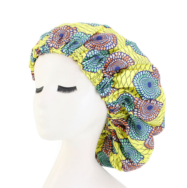 Wholesale African Women Children Baby Reversible, Adjustable Headwrap Satin Backwood Hair Double Layer Bonnets