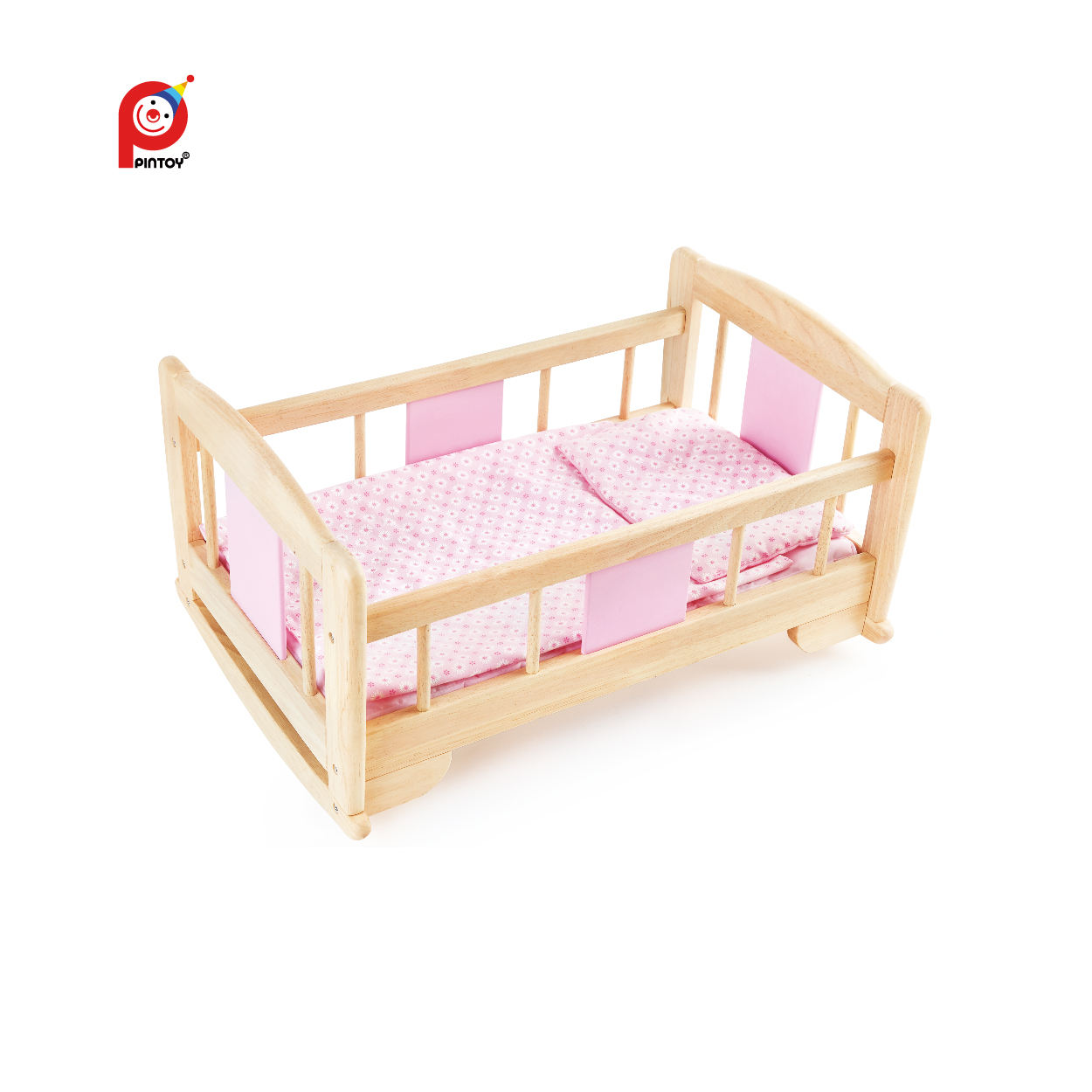 Pintoy Custom Pink Baby Crib Portable Newborn Natural Wood Multipurpose Designer Baby Crib Cradle