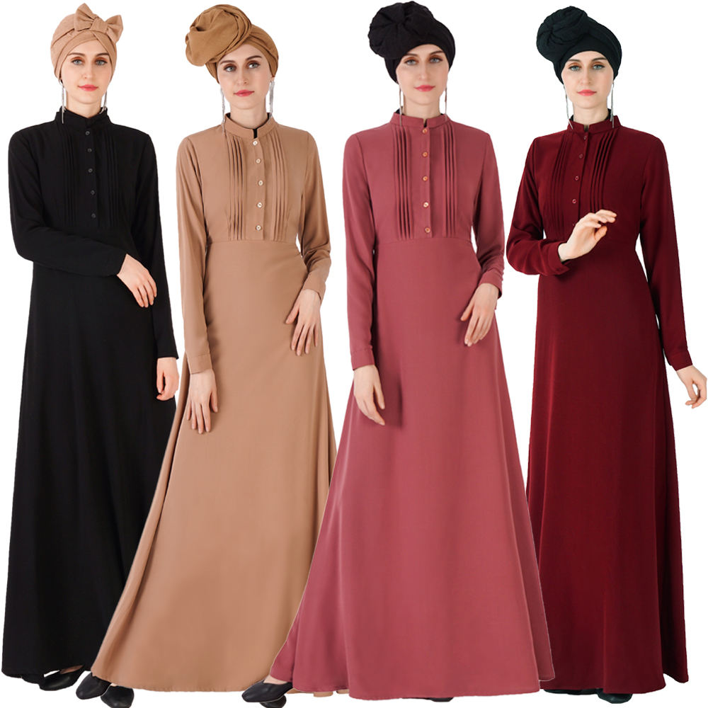 The latest 2020 6 color summer thin section clothing front pleat dress long shirt abaya button design Turkish abaya