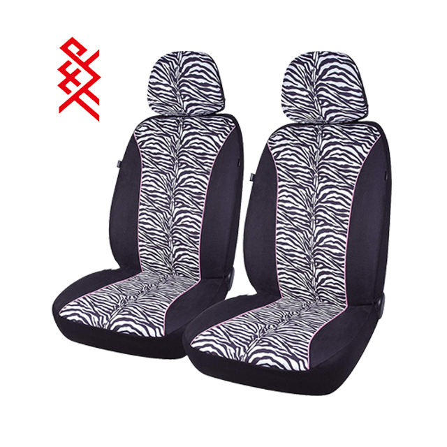 Premium Front Car Seat Covers Low Back Suede Zebra Pattern Universal Fit Most Cars Trucks SUVs & Vans