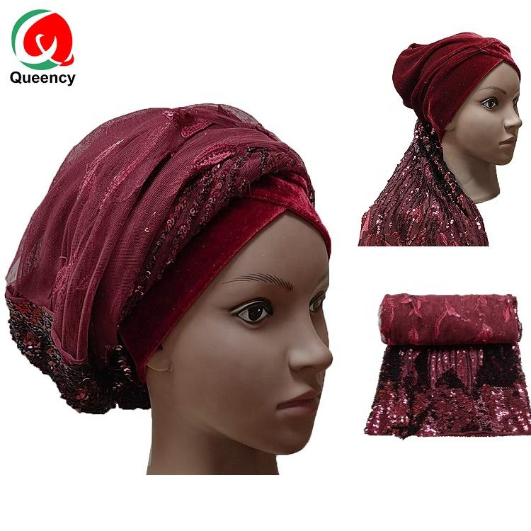 Queency African Headtie For Women Fashion sequin bead Auto Gele French Net Lace gele ready to wear head tie net aso oke in stock
