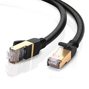 RJ45 Plug CAT 6a Ethernet Computer Network Cord, Cat6a Patch Cord LAN Cable S/FTP SSTP 26AWG Copper Wire, Black color