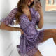 Dress Vacation Style Floral Dress With Ruffled Lace Purple Sexy Short Skirt