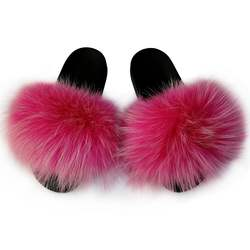 Made in China wholesale fur slides women fur slides wholesale fox fur slides slippers