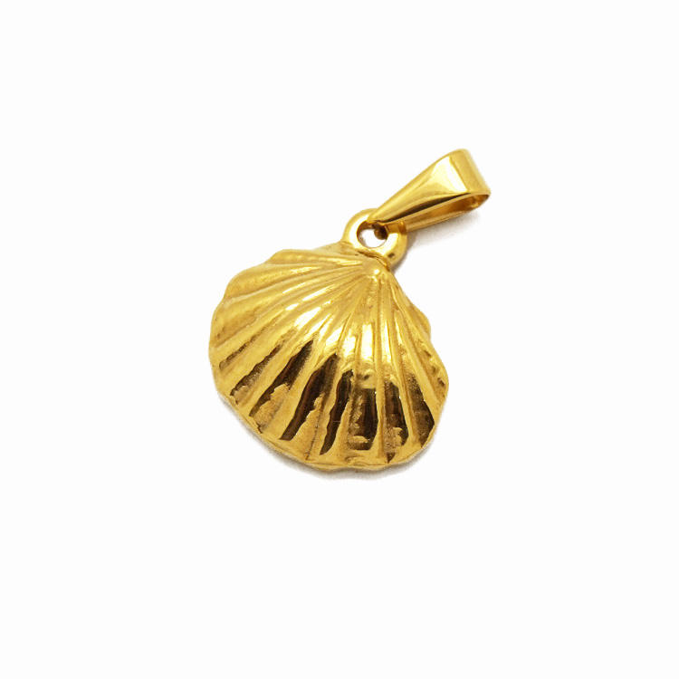 In stock cheap price high polished seaside jewelry accessories 18k gold shell stainless steel pendant