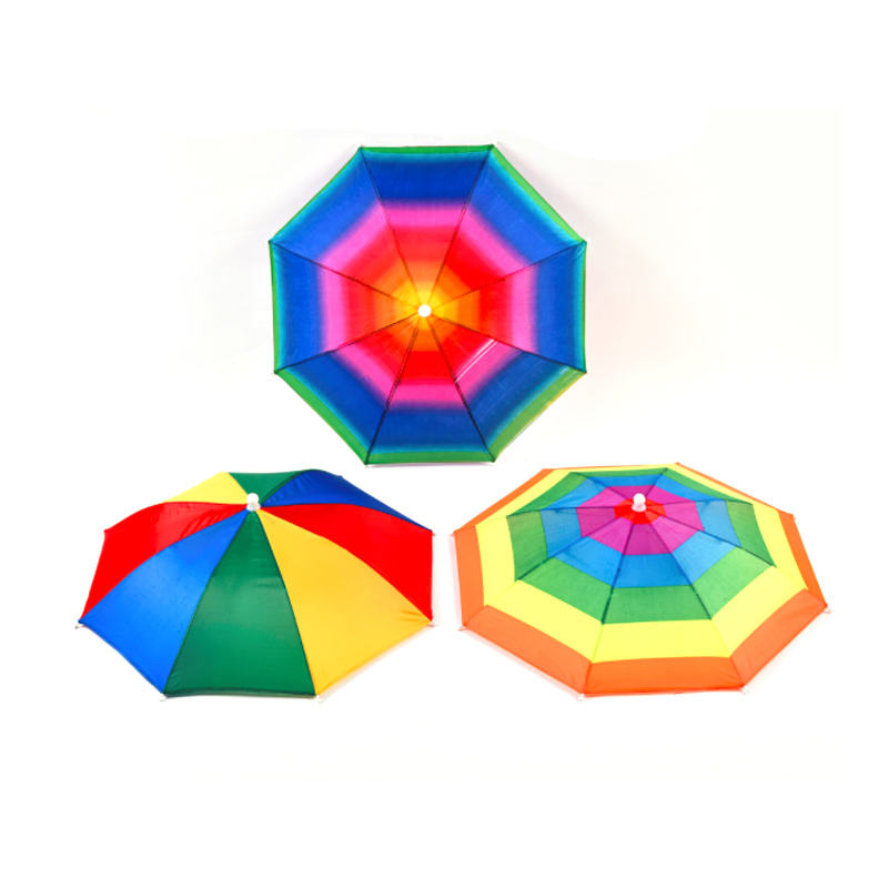 customized outdoor foldable rainbow head shape umbrella hat with fan