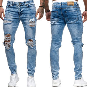 Grosir Super Robek Biru Fashion Lubang Celana Slim Fit Jeans