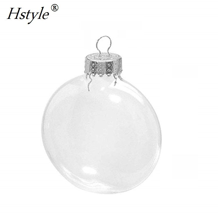 10CM DIY Flat Disc Transparent Glass Ball Christmas Ornament Wedding Glass Bauble Decoration Paintable Party Event SSD115F