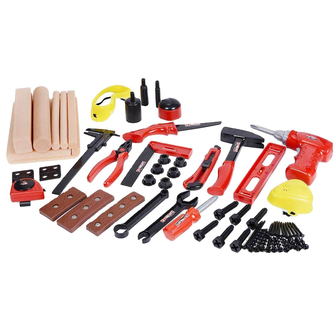 DIY Deluxe Foam Wood Kids Carpentry Construction Engineering Tools Workshop Kit STEM Pretend Play Tool Toys Set for Kids