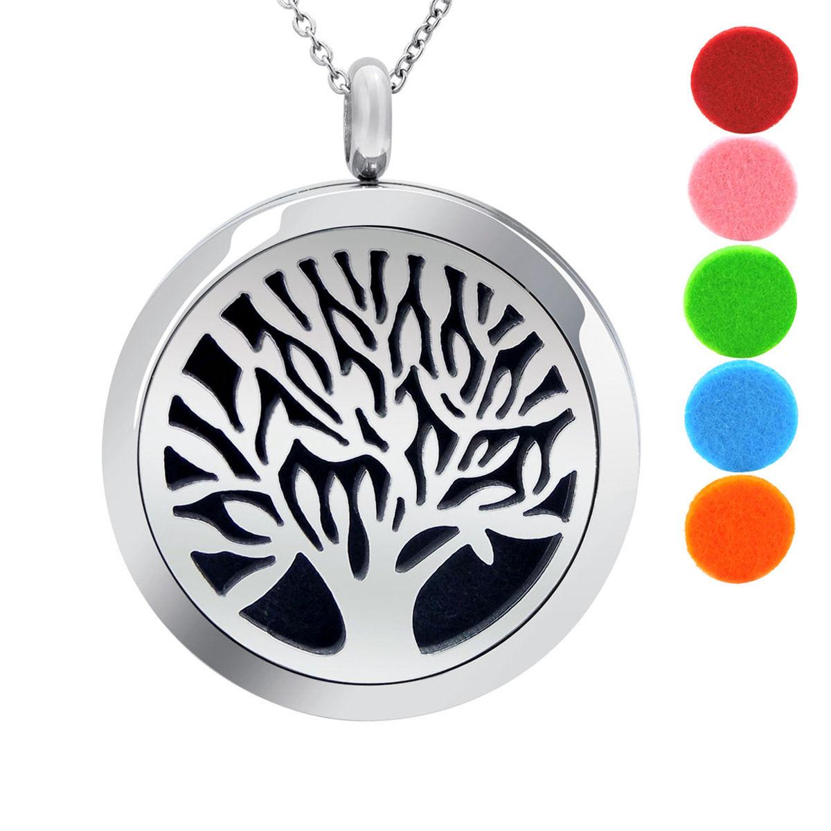 Difusor de árbol de la vida Colgante Collar Joyería LH de Aceite Esencial Aromaterapia