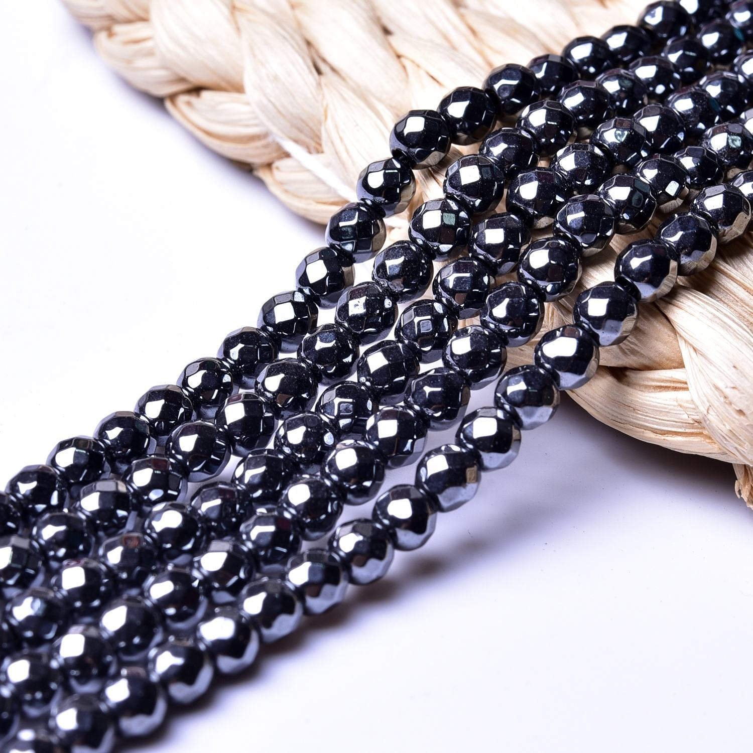 Factory Wholesale Natural Round Faceted Black Hematite Beads 2mm 3mm 4mm Gemstone Loose Beads for DIY Jewellery JL-002-22
