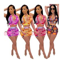 S-XXXL New fashion summer printed shorts girls 2 piece set
