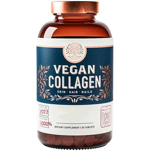 Vegan Collagen Builder Tablets/capsules Non GMO Vegetarian Plant Based Supplement Strengthens Skin Hair Nails and Joints