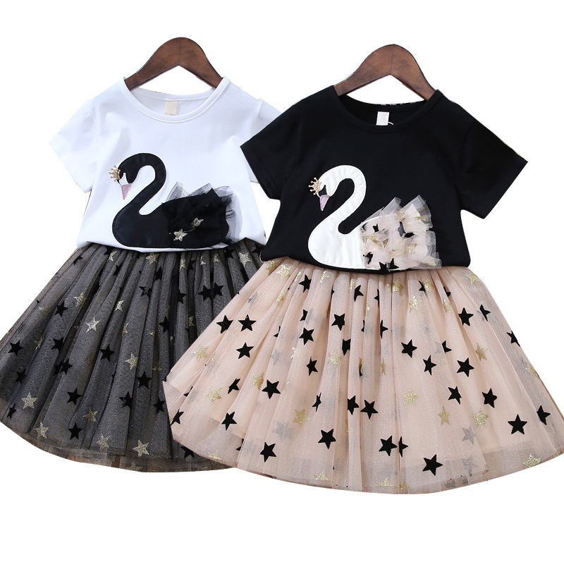 baby dresses two pieces/ Swan net gauze skirt/ Baby Girl Dress Infant Cartoon Swan Short sleeve top Princess Skirt