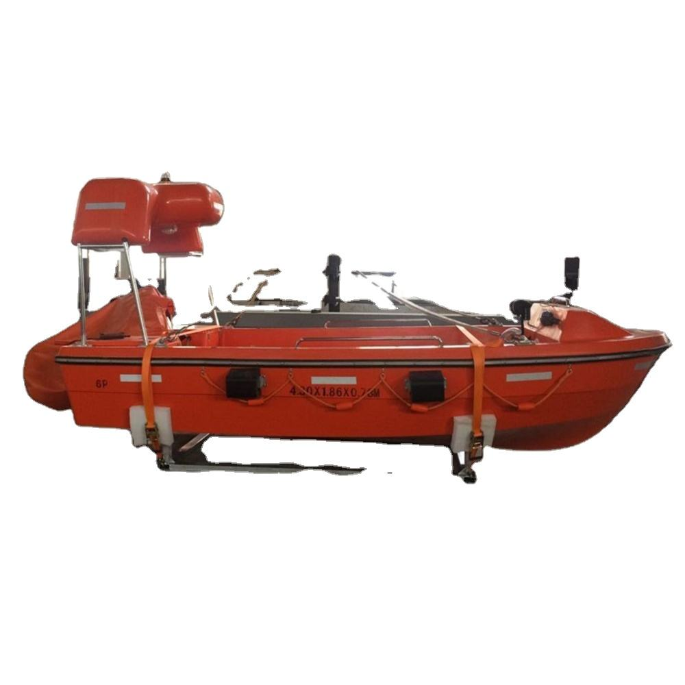 SOLAS china lifesaving open type marine boat water jet FRP 6m 4.5m fast rescue boat with davit winch CCS NK