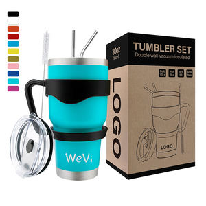 Wevi 20 Oz dan 30 Oz Double Walled Stainless Steel Gelas Tumbler With Straw