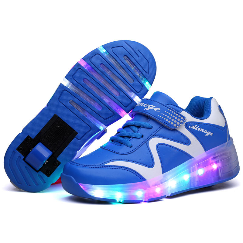 2020 USB Charging Spring AUTUMN New Leather Led Children's Light-emitting Wheel Shoes Heelys Skating Pulley Shoes 27-43#