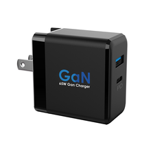 GaN Dual Ports USB-C PD+QC3.0 Charger Mini 65W Wall Charger Adapter With CB KC PSE CE Approved