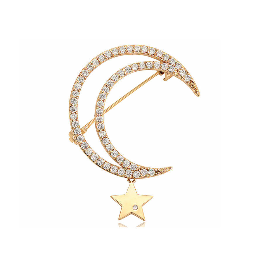 brooches 575 xuping New stylish star and moon pendant brooch for stylish glamour ladies