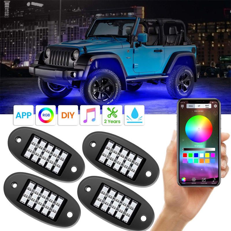 RGB LED Rock Lights with APP RF Control 4 Pods RGB Neon Underglow Waterproof Music Lighting Kit for Jeep and Car