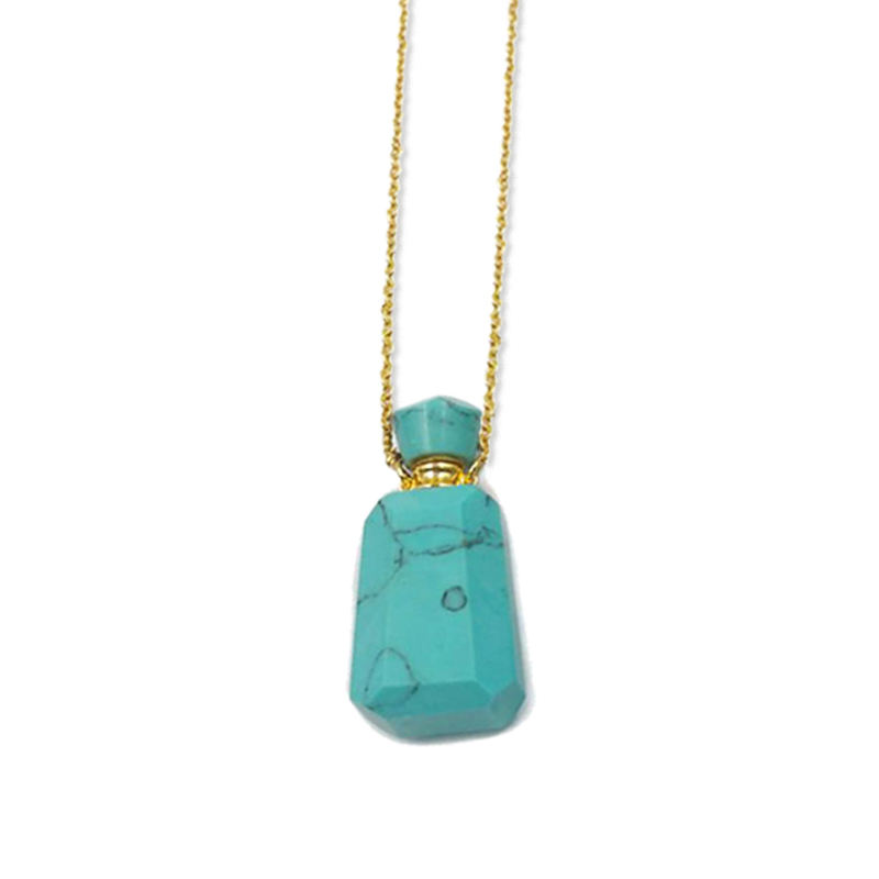 Luxury design turquoise natural gemstone essemtial oil diffuser perfume bottle necklace