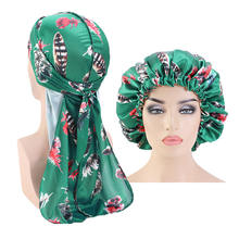 Adjustable Double Layer African Ankara Printing Bonnets And Du Rags Set Solid Satin Silky Matching Bonnets and Durags TB-156G
