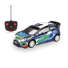 2.4G Licensed Radio Control Car Toy Model Vehicle for Kids 1:16 Scale All Terrains RC Ford Fiesta WRC with Headlights