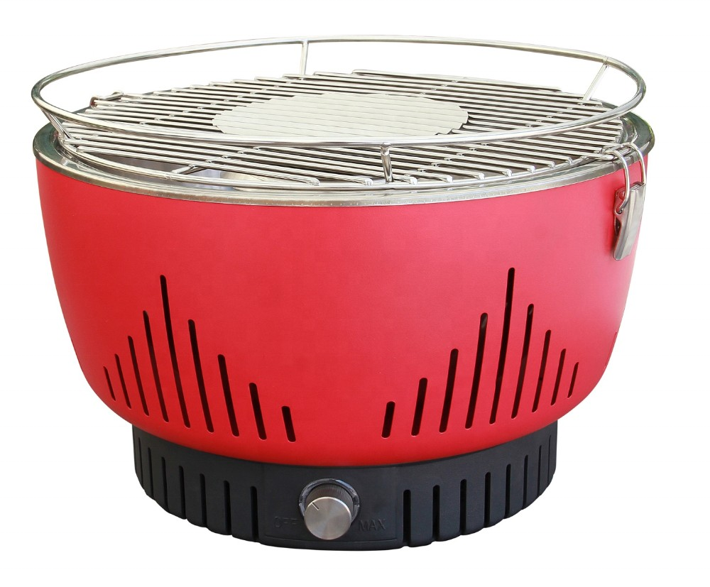 14inch Portable Camping Lotus Grill Round shape red color table top charcoal bbq grill