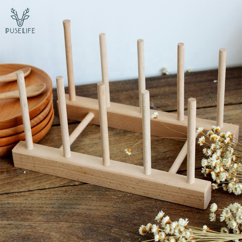 Wood [ Drying Rack ] Plate Rack Wood Hot Sale 100% Solid Wood Dish Drying Rack Wooden Plate Kitchen Tools Dish Rack