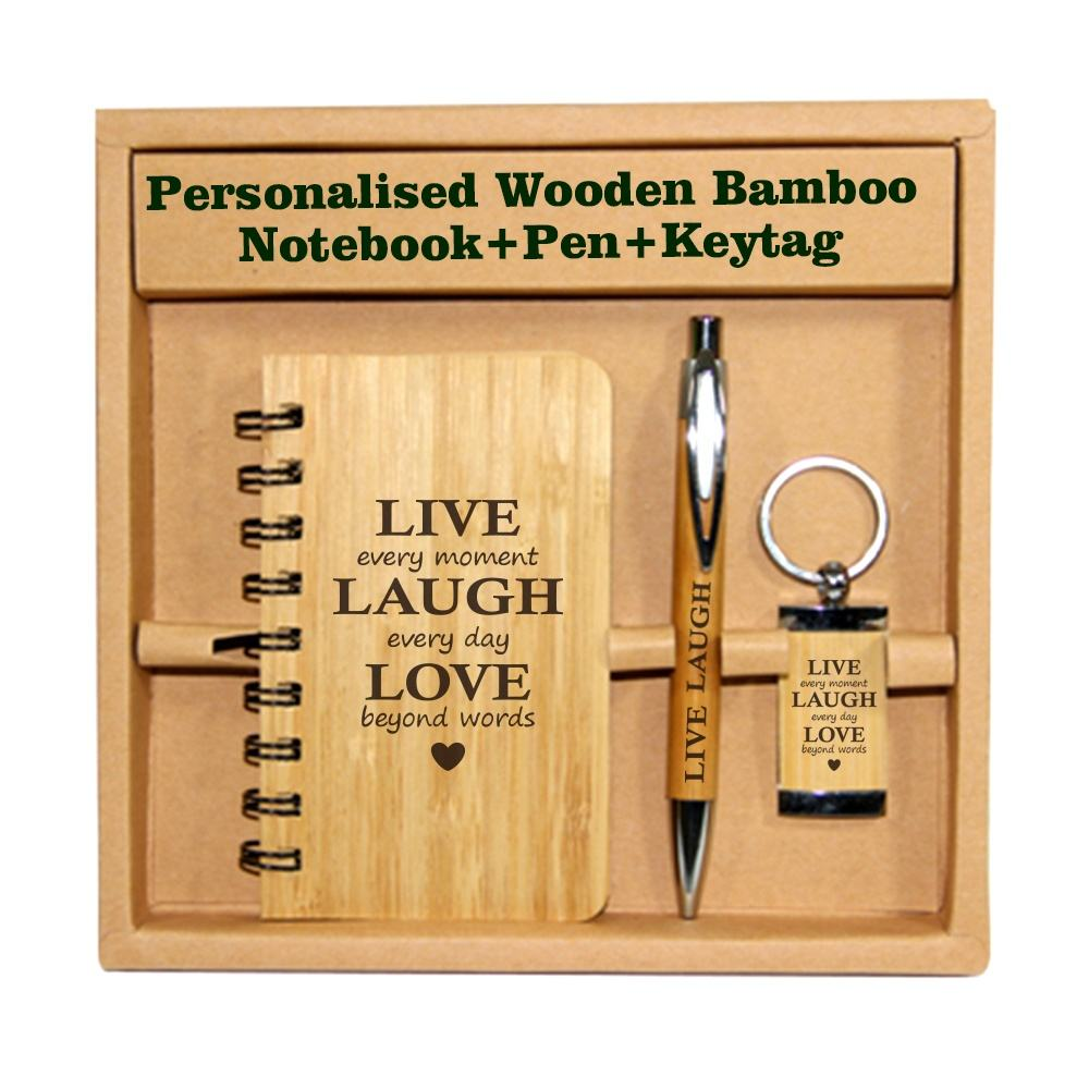 personalised spiral bamboo cover diary hardcover a5 bamboo notebook set wood keychain and bamboo cover notebook with pen