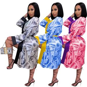 New Arrival Dollar Pajamas Home Dress Women Silk Robe Women Sexy Sleepwear