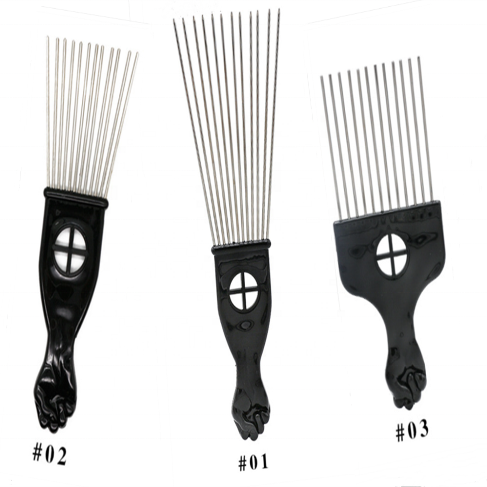 Free Shipping Metal African American Pick Comb Straight Hair Brush Hairdressing Hair Styling Tool Small Afro Combs
