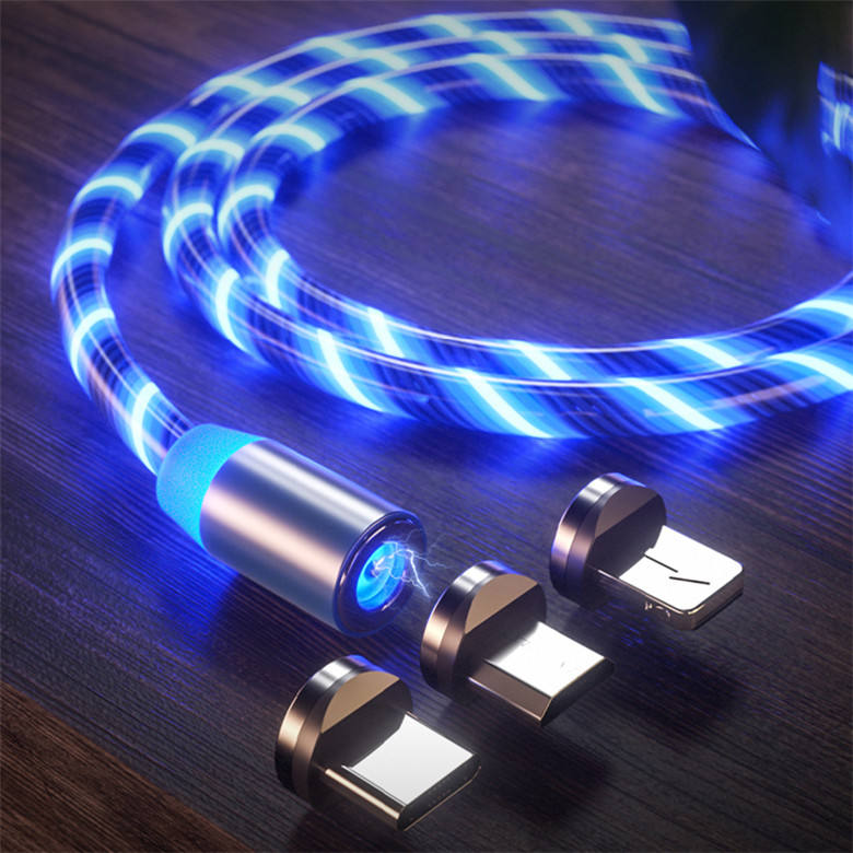 High quality 3 in 1 LED Mobile Phone Charger USB Magnetic Charging Cable