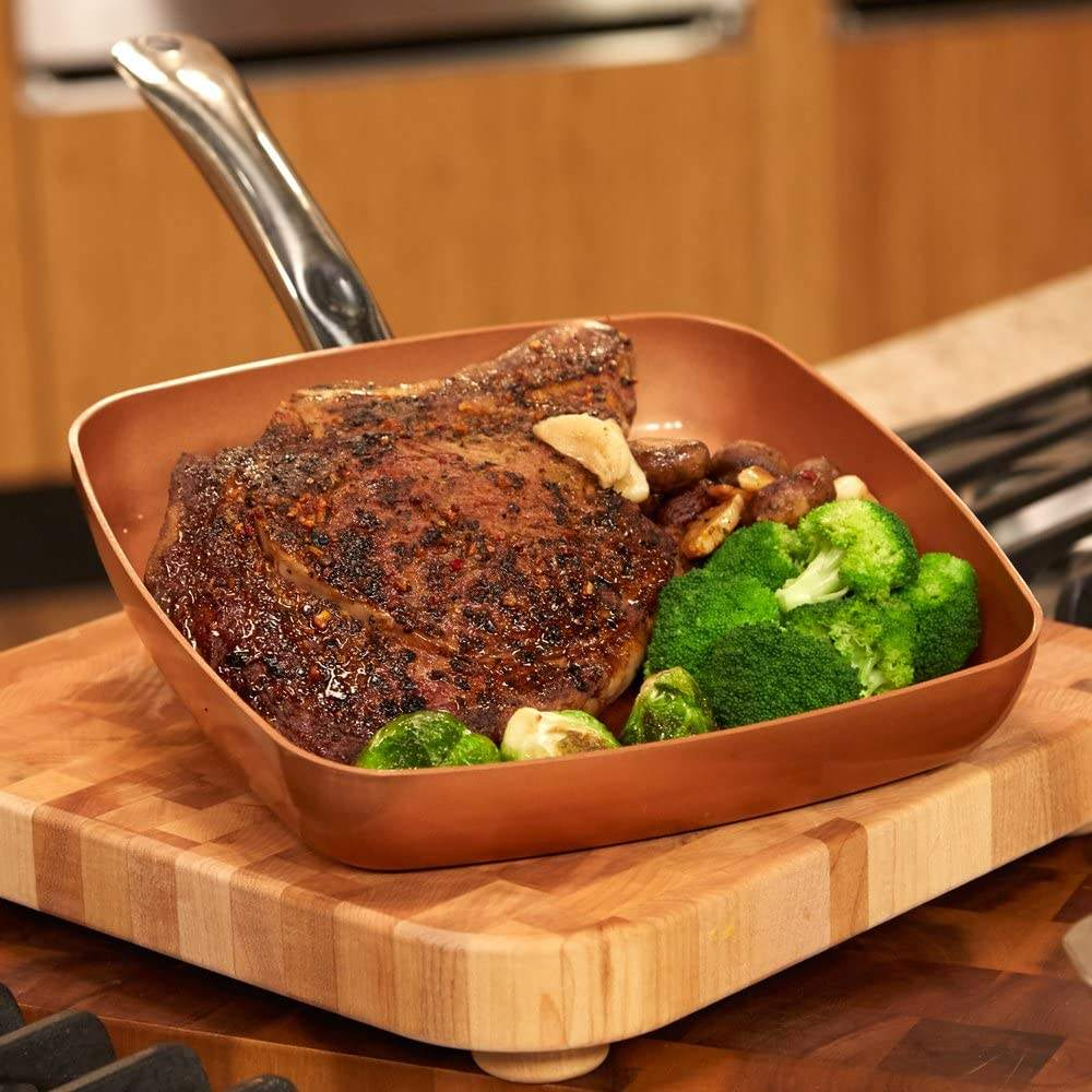 Induction 24cm Aluminum Copper Square Frying Pan With Handle