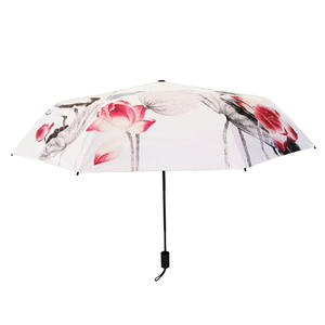 UV Protection Manual Open/Close Custom Chinese Printing Folds Umbrella