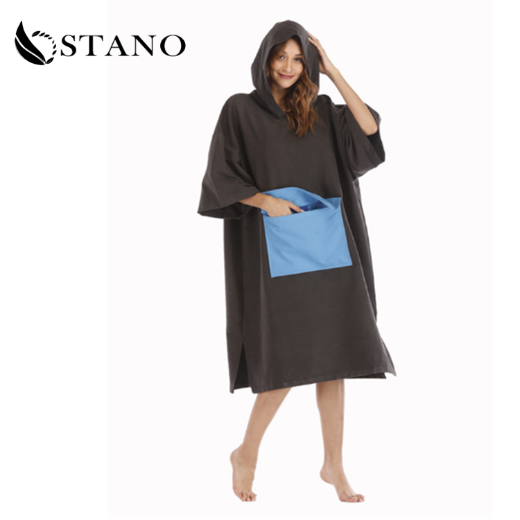 Adults Hooded Poncho Towel Beach Surf Poncho Super Absorbent Changing Robe Towel for Adults