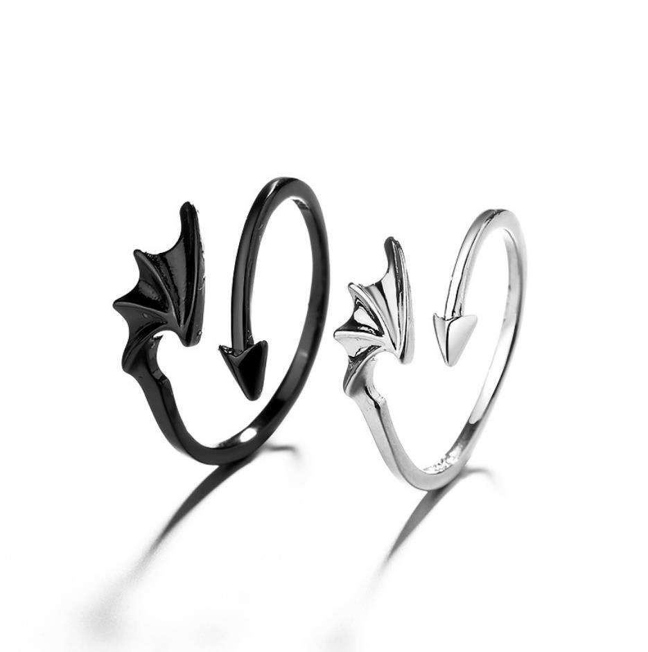 Small Order Hot Sale Creative Brass Rings Plain Geometric Angel Devil Wings Opening Rings For Couple Jewelry 2021 Wholesale