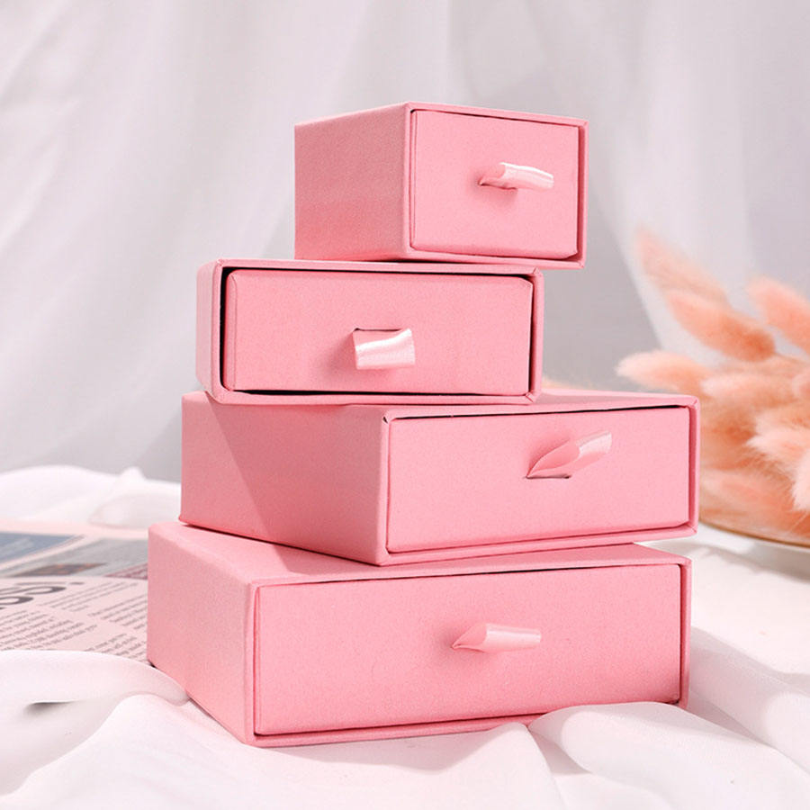 Wholesale custom logo jewellery packaging drawer box ring earring necklace bracelet pink black cardboard paper jewelry box