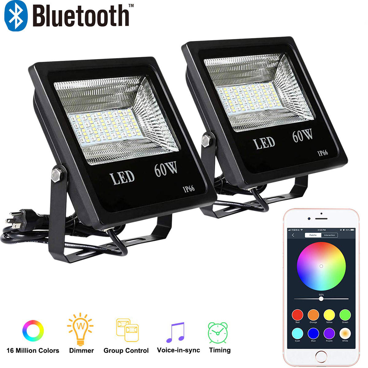 Super Bright LED Garden Light With APP Control RGBW Multi Color Changing Waterproof 30W 60W LED Flood Light