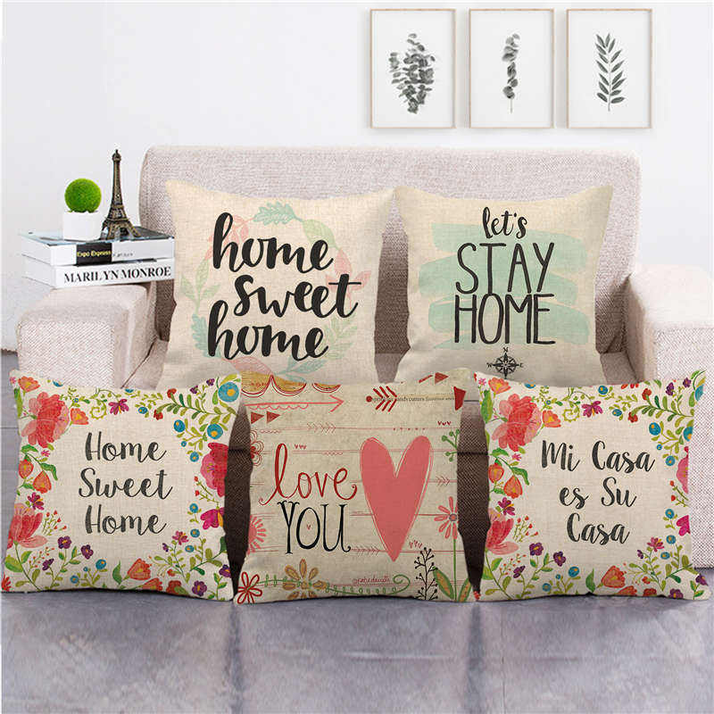 home sweet home and family Amazon goods supplier linen cushion cover throw pillow cover decorative pillows