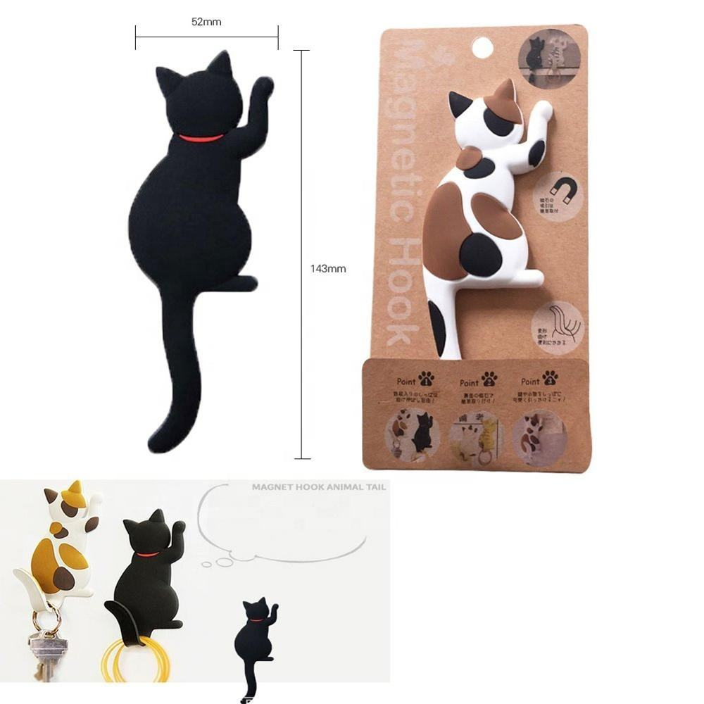 2019 Nuovo decorativo per la casa cute cat fridge magnet con flessibile gancio di coda