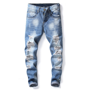 Men Fashion Straight Stretch Begging Jeans Blue Casual Slim Men Long Denim Jeans Trousers