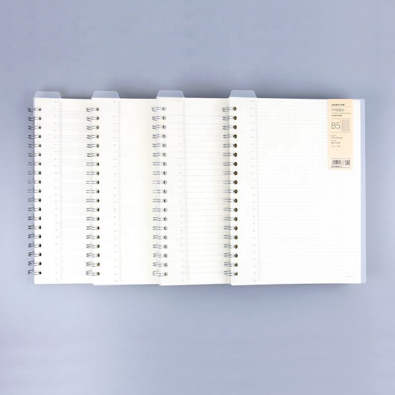 Wholesale dotted/grid/lines/blank transparent PP hardcover Spiral bound Notebook