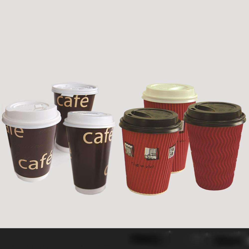 Custom high quality print personalized disposable takeaway cappuccino espresso hot drink PLA paper coffee cups with lids 16 oz