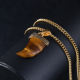 Unique Design Fine Jewelry Natural Stone Tiger Eye Pendant Gold Horn Necklace For Men
