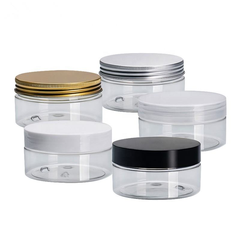 custom 100ml 200ml 8oz 300ml 12oz 500ml clear white black amber wide mouth cosmetic containers plastic pet jar with aluminum lid